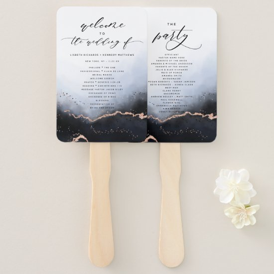 Ethereal Mist Ombre Dusty Blue Ceremony Program Hand Fan