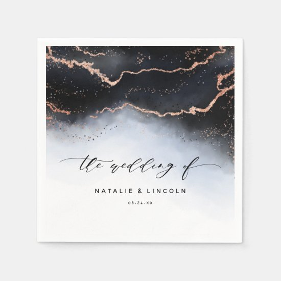 Ethereal Mist Ombre Dusty Blue Wedding Monogram Napkin