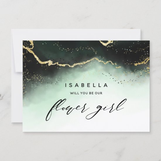 Ethereal Mist Ombre Emerald Flower Girl Proposal
