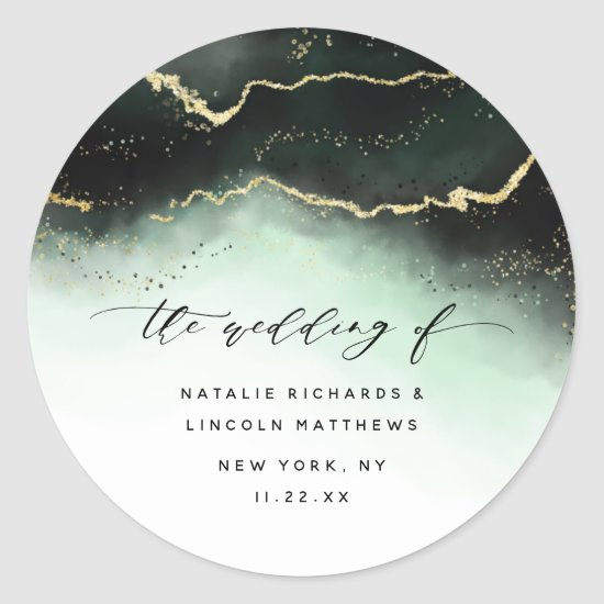 Ethereal Mist Ombre Emerald Green Aurora Wedding Classic Round Sticker