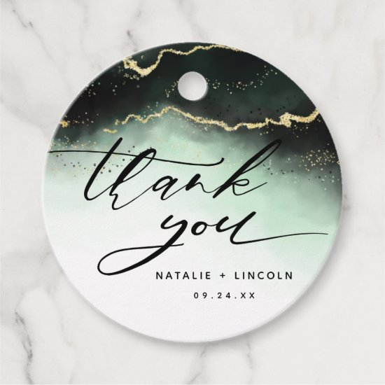 Ethereal Mist Ombre Emerald Green Moody Thank You Favor Tags