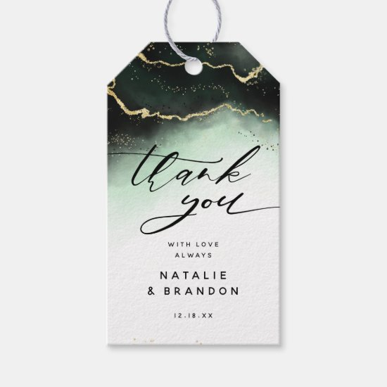 Ethereal Mist Ombre Emerald Green Moody Thank You Gift Tags