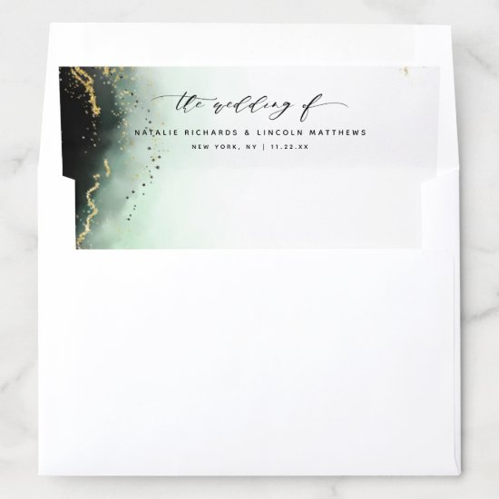 Ethereal Mist Ombre Emerald Green Moody Wedding Envelope Liner