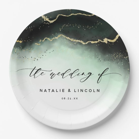 Ethereal Mist Ombre Emerald Green Moody Wedding Paper Plate