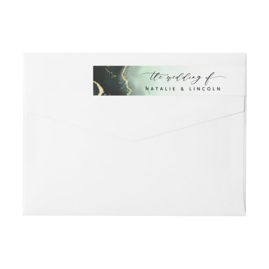 Ethereal Mist Ombre Emerald Green Moody Wedding Wrap Around Label