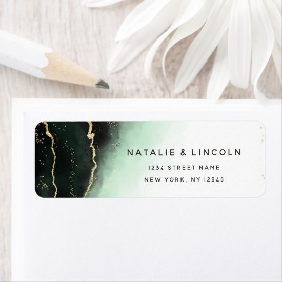 Ethereal Mist Ombre Emerald Green Return Address Label