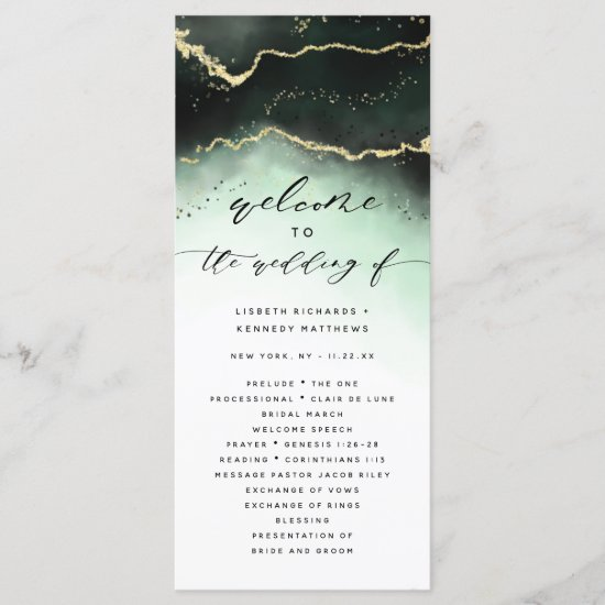 Ethereal Mist Ombre Emerald Green Wedding Ceremony Program
