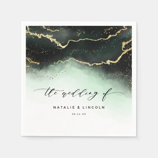 Ethereal Mist Ombre Emerald Green Wedding Monogram Napkin