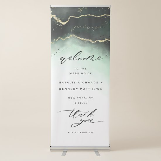 Ethereal Mist Ombre Emerald Green Wedding Welcome Retractable Banner