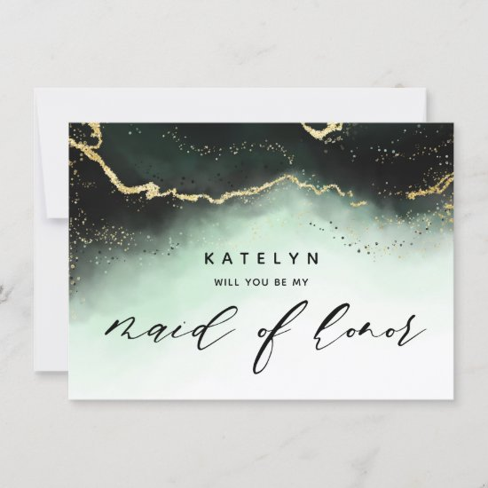 Ethereal Mist Ombre Emerald Maid of Honor Proposal