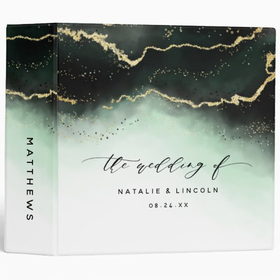 Ethereal Mist Ombre Emerald Wedding Photo Album 3 Ring Binder