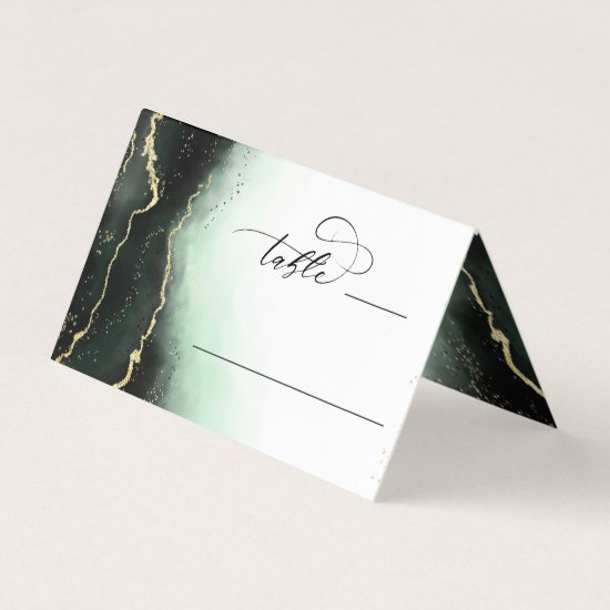 Ethereal Mist Ombre Emerald Wedding Table Number Place Card