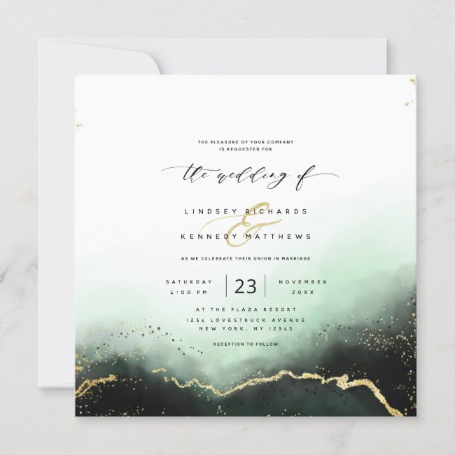 Ethereal Mist Ombre Green Luxury Square Wedding Invitation