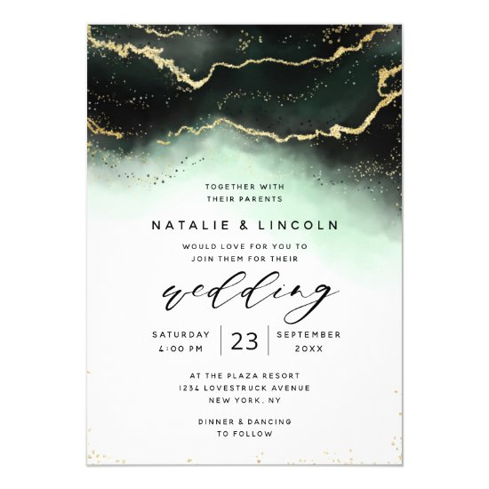 Ethereal Mist Ombre Green Watercolor Moody Wedding Invitation