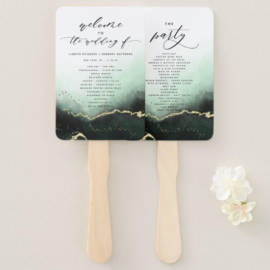 Ethereal Mist Ombre Green Wedding Ceremony Program Hand Fan