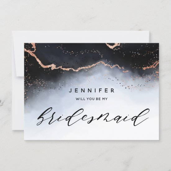 Ethereal Mist Ombre Navy Blue Bridesmaid Proposal