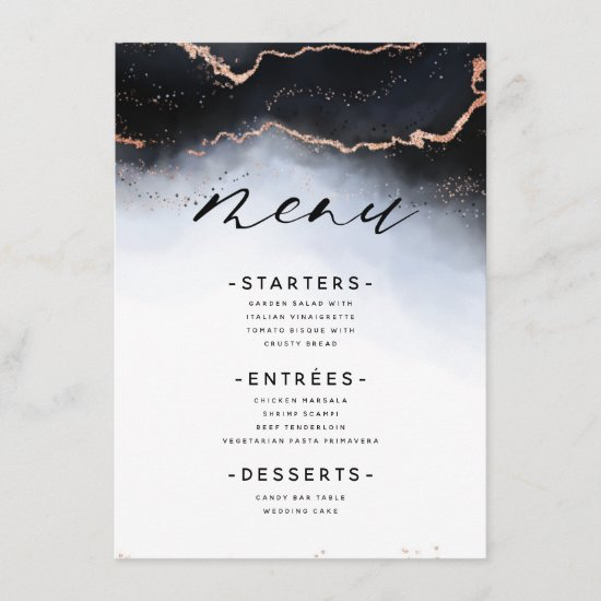 Ethereal Mist Ombre Navy Blue Edgy Gilded Dinner Menu