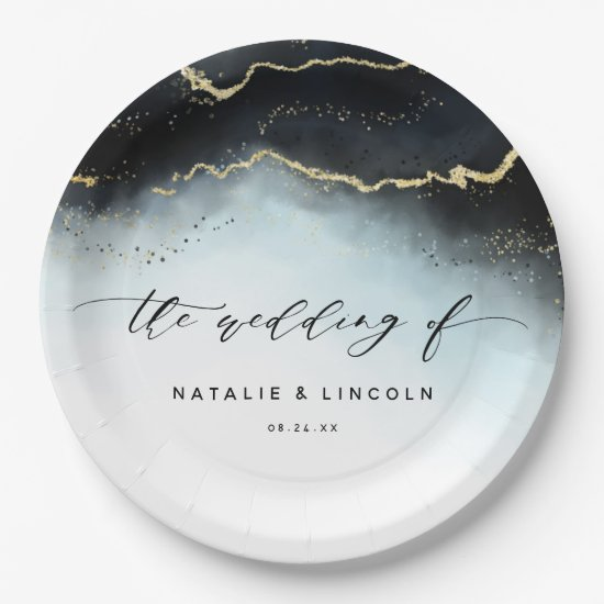 Ethereal Mist Ombre Navy Blue Gilded Moody Wedding Paper Plate