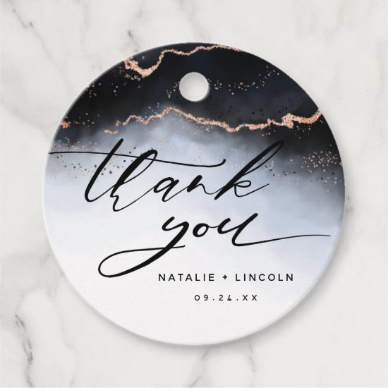 Ethereal Mist Ombre Navy Blue Luxury Thank You Favor Tags
