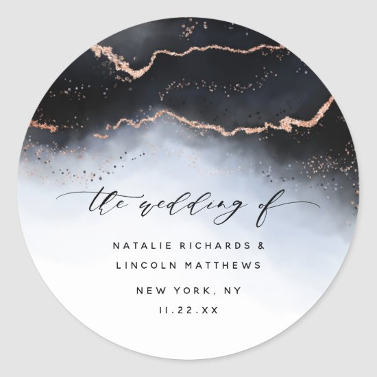 Ethereal Mist Ombre Navy Blue Mood Aurora Wedding Classic Round Sticker