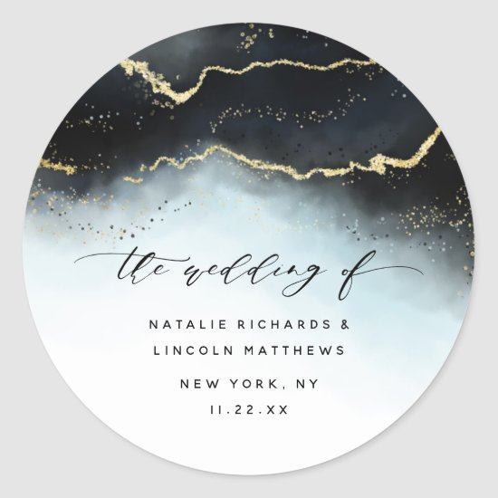 Ethereal Mist Ombre Navy Blue Moody Aurora Wedding Classic Round Sticker