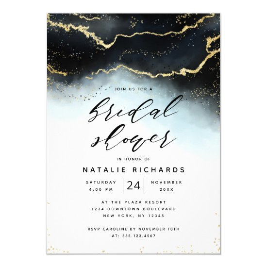 Ethereal Mist Ombre Navy Blue Moody Bridal Shower Invitation