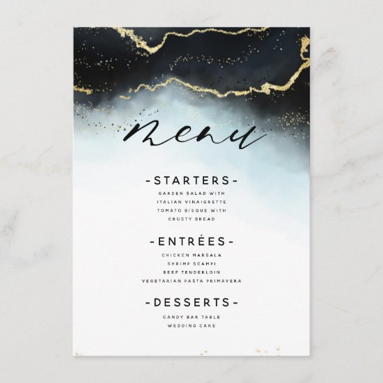 Ethereal Mist Ombre Navy Blue Moody Gilded Dinner Menu