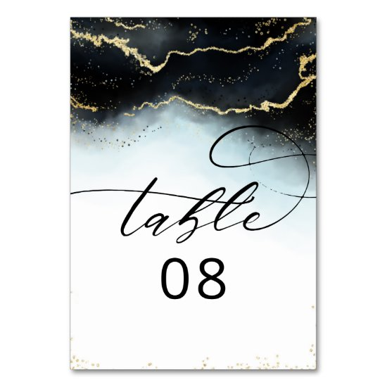 Ethereal Mist Ombre Navy Blue Moody Gilded Wedding Table Number