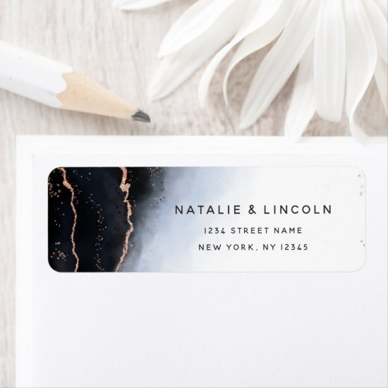Ethereal Mist Ombre Navy Blue Moody Return Address Label