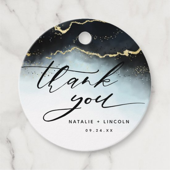 Ethereal Mist Ombre Navy Blue Watercolor Thank You Favor Tags