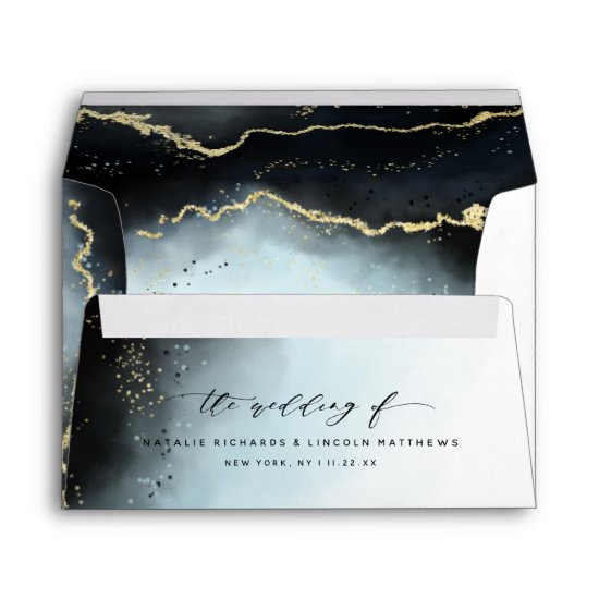 Ethereal Mist Ombre Navy Blue Watercolor Wedding Envelope
