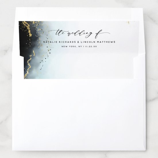 Ethereal Mist Ombre Navy Blue Watercolor Wedding Envelope Liner
