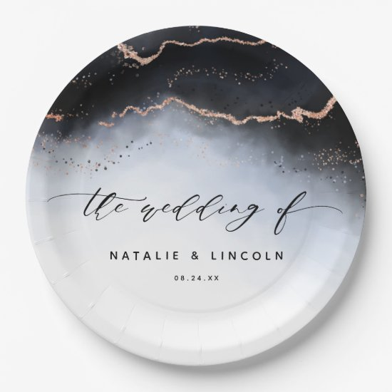 Ethereal Mist Ombre Navy Blue Watercolor Wedding Paper Plate