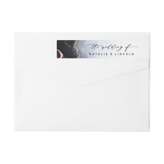 Ethereal Mist Ombre Navy Blue Watercolor Wedding Wrap Around Label