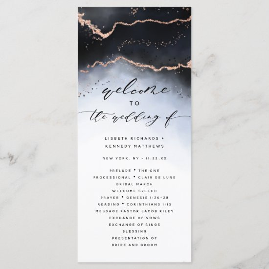 Ethereal Mist Ombre Navy Blue Wedding Ceremony Program