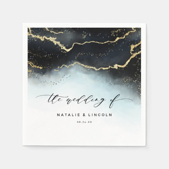 Ethereal Mist Ombre Navy Blue Wedding Monogram Napkin
