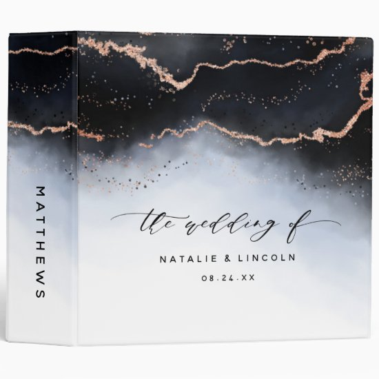 Ethereal Mist Ombre Navy Blue Wedding Photo Album 3 Ring Binder