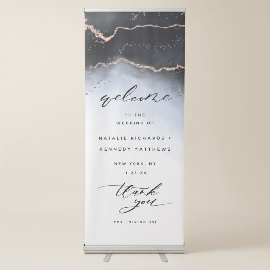 Ethereal Mist Ombre Navy Blue Wedding Welcome Retractable Banner