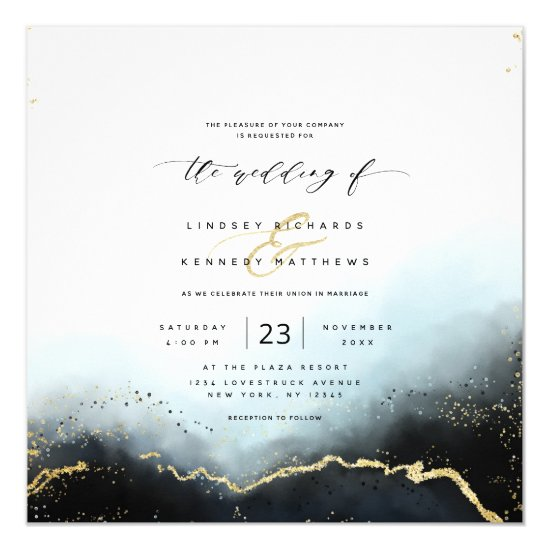 Ethereal Mist Ombre Navy Luxury Square Wedding Invitation