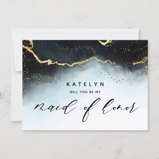 Ethereal Mist Ombre Navy Maid of Honor Proposal
