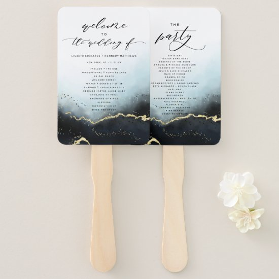 Ethereal Mist Ombre Navy Wedding Ceremony Program Hand Fan