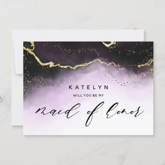 Ethereal Mist Ombre Purple Maid of Honor Proposal