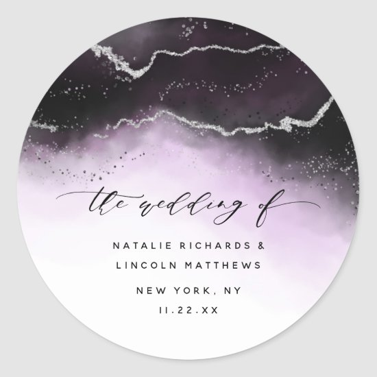 Ethereal Mist Ombre Ultra Violet Aurora Wedding Classic Round Sticker