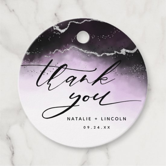 Ethereal Mist Ombre Ultra Violet Moody Thank You Favor Tags