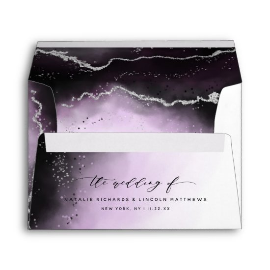 Ethereal Mist Ombre Ultra Violet Moody Wedding Envelope
