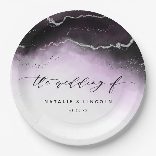 Ethereal Mist Ombre Ultra Violet Silver Wedding Paper Plate