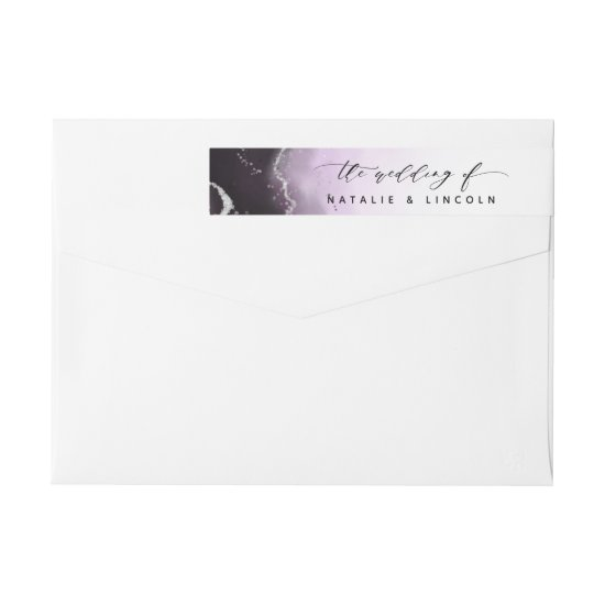 Ethereal Mist Ombre Ultra Violet Silver Wedding Wrap Around Label