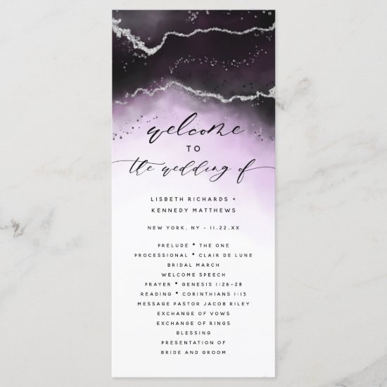 Ethereal Mist Ombre Ultra Violet Wedding Ceremony Program