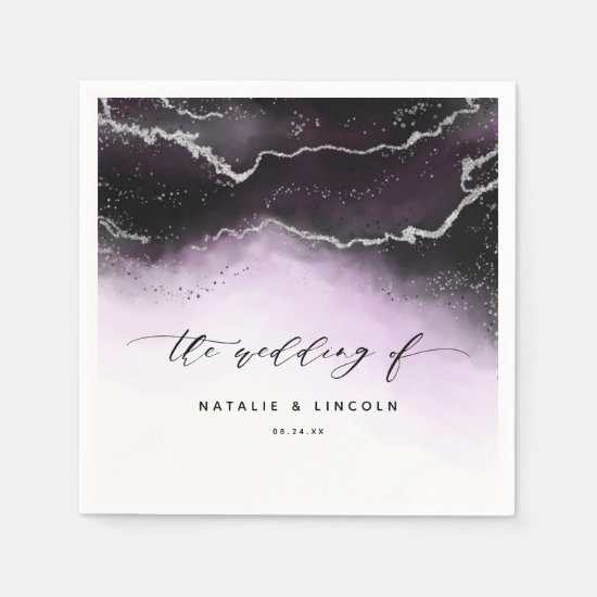 Ethereal Mist Ombre Ultra Violet Wedding Monogram Napkin