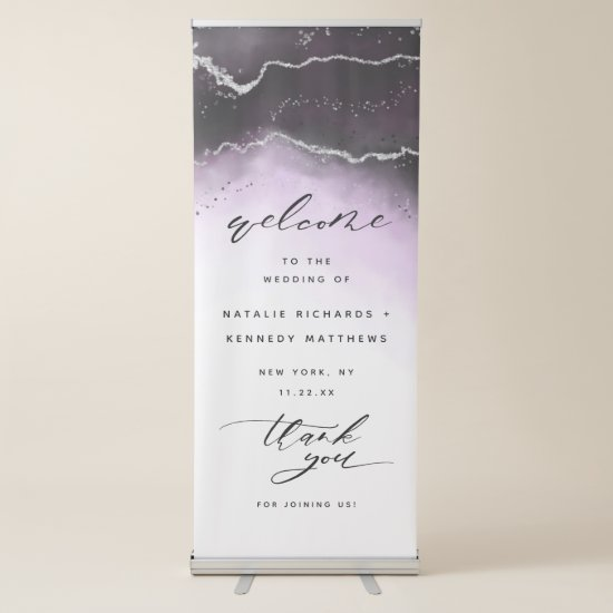 Ethereal Mist Ombre Ultra Violet Wedding Welcome Retractable Banner